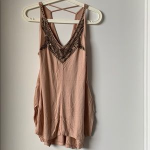 Beaded Pink V-Neck Tank Top from Urban Outfitters